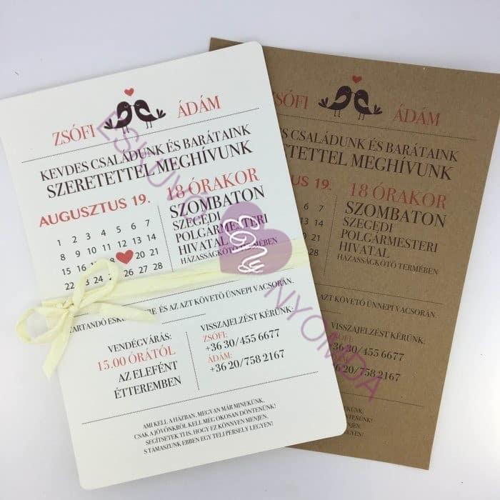 3a798c5440 Esküvői meghívó - Értesítő 16 - Esküvő Nyomda