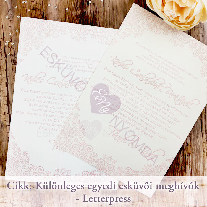 8138b1e150 Különleges egyedi esküvői meghívók - Letterpress - Esküvő Nyomda