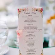 esküvői menükártya, háromba hajtott